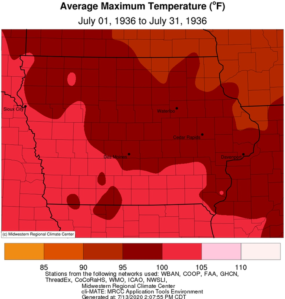 The average monthly high in Iowa in July 1936 was in the upper 90s to around 100 degrees.