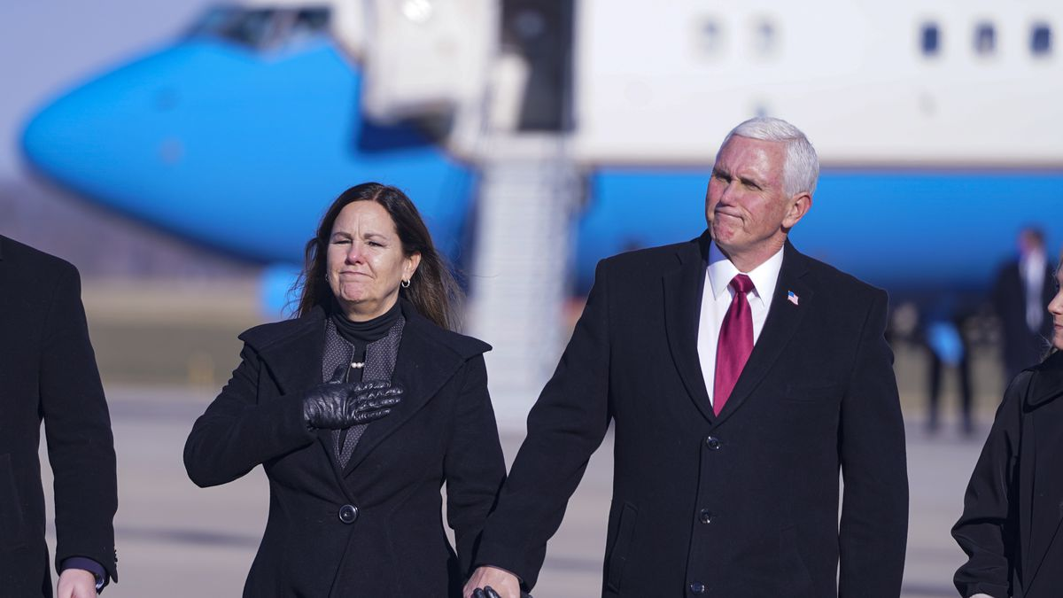 FILE - In this Jan. 20, 2021, file photo, former Vice President Mike Pence and his wife Karen...