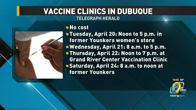 People in Dubuque can go to a series of free walk-in and drive-thru COVID-19 vaccination...