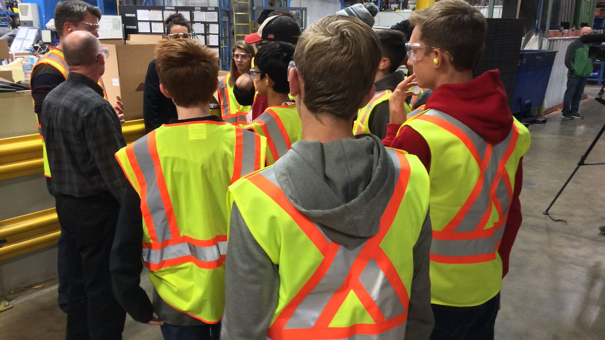 Students from West Branch High School tour Centro, Inc. in North Liberty on Wednesday.  Nearly two dozen manufacturers are opening doors this week as part of an Advancing the Future program to interest students in manufacturing jobs.