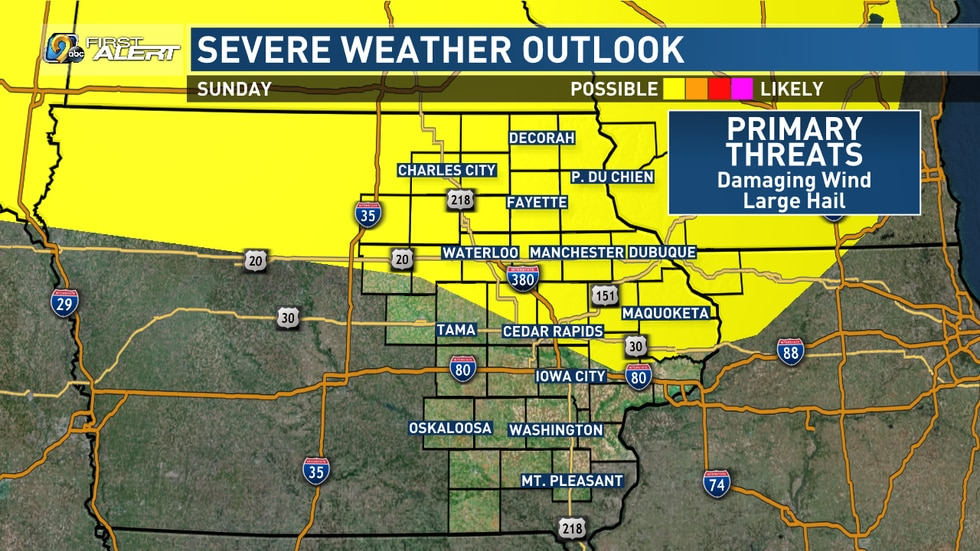 A few strong storms are possible Sunday.