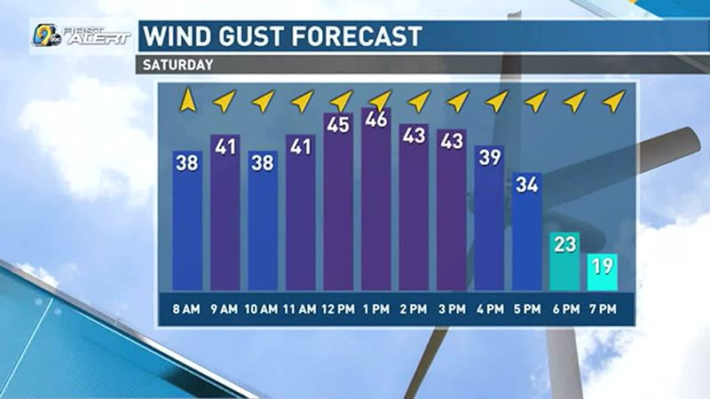Wind gusts up to 40-45 mph Saturday.