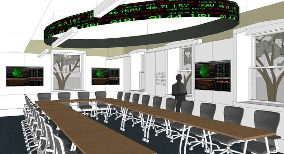 The new finance lab will feature a financial ticker board anchored to the ceiling that will...