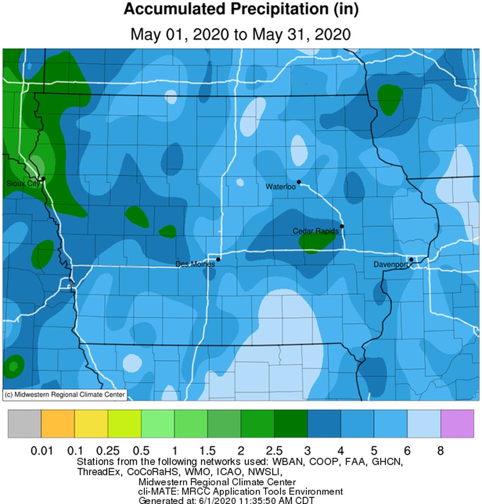 Precipitation totals for May 2020.