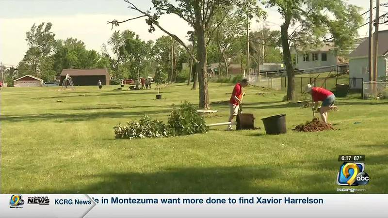 Boy Scouts plant trees for Eagle Scout project
