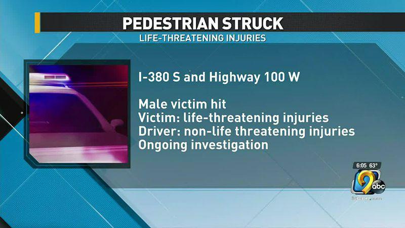 Two hurt in crash between vehicle, pedestrian on Highway 100