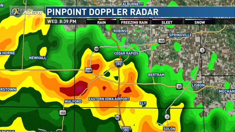 The view from KCRG-TV9's Pinpoint Doppler Radar on Wednesday, April 8, 2021, when a tornado...