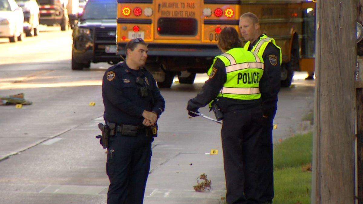 School bus crash in October 2018 where a Cedar Rapids student was hit by a driver (KCRG).