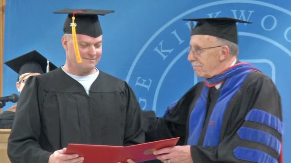 An inmate at Anamosa State Penitentiary participates in the jail's graduation ceremony on April...