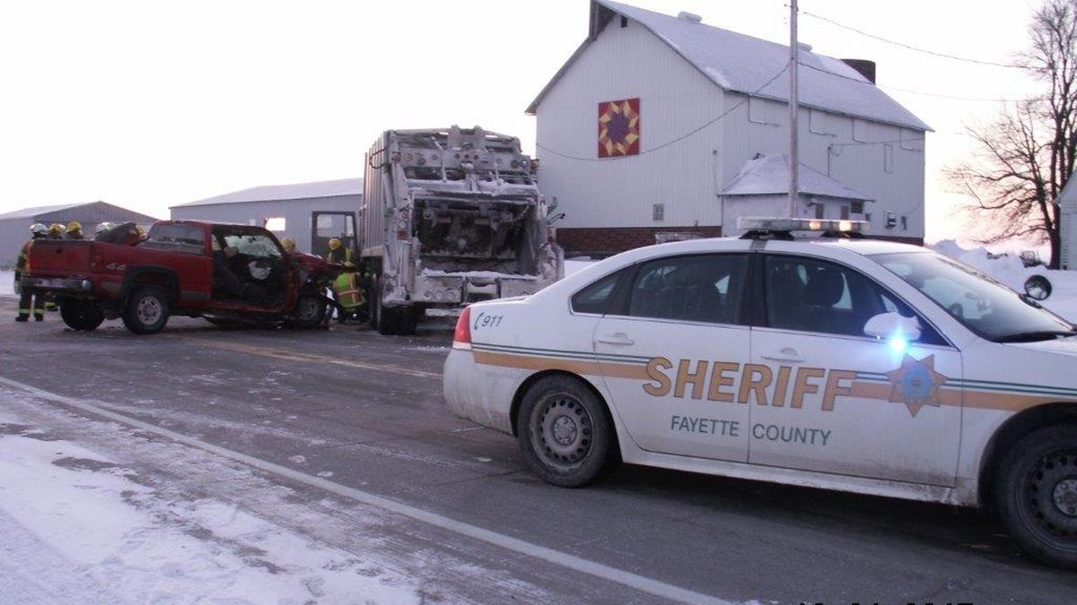 Four people were hurt in a crash between a garbage truck and a pickup truck on Highway 18, about two miles west of West Union, the morning of December 31, 2015.
