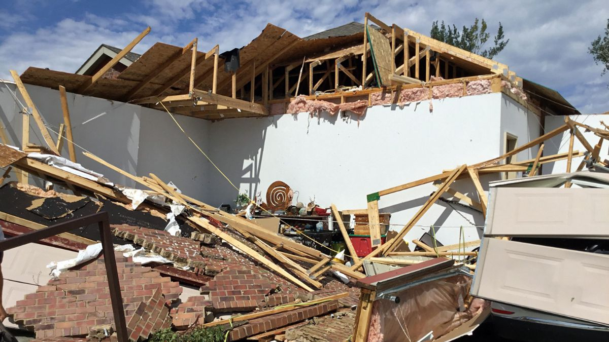Damage to a home in the area of 69th Street and Western Avenue from an EF-2 tornado in Sioux Falls, S.D. (Courtesy: Sioux Falls National Weather Service)