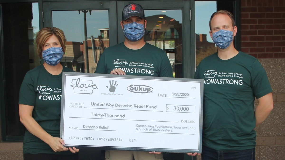The Carson King Foundation announced it raised more than $56,000 for derecho relief and...