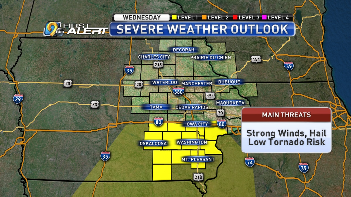 Storm Prediction Center severe weather outlook for Wednesday, April 17.