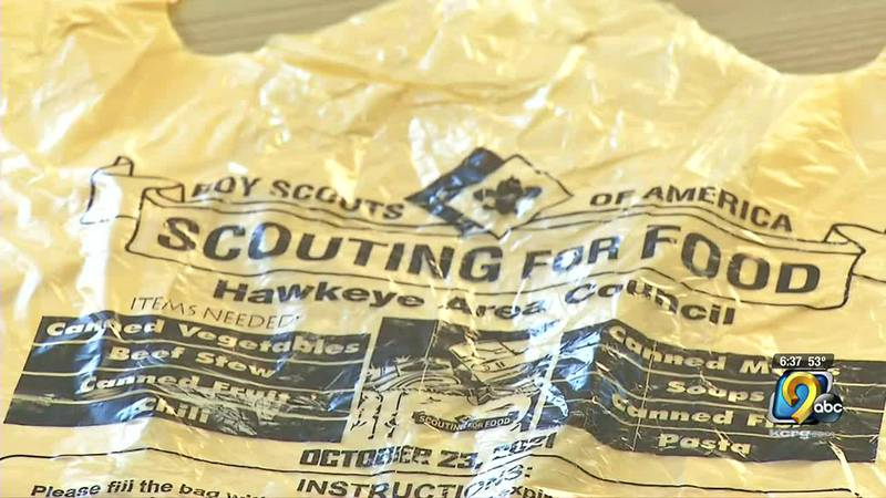 The Hawkeye Area Council boy scouts distributed 120,000 bags to Eastern Iowa homes for...