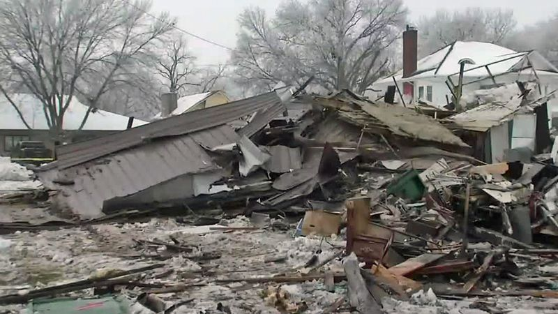 The aftermath of a home explosion in Washington on Monday, Jan. 4, 2021.