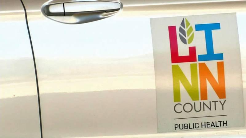 The door of a Linn County Public Health vehicle.