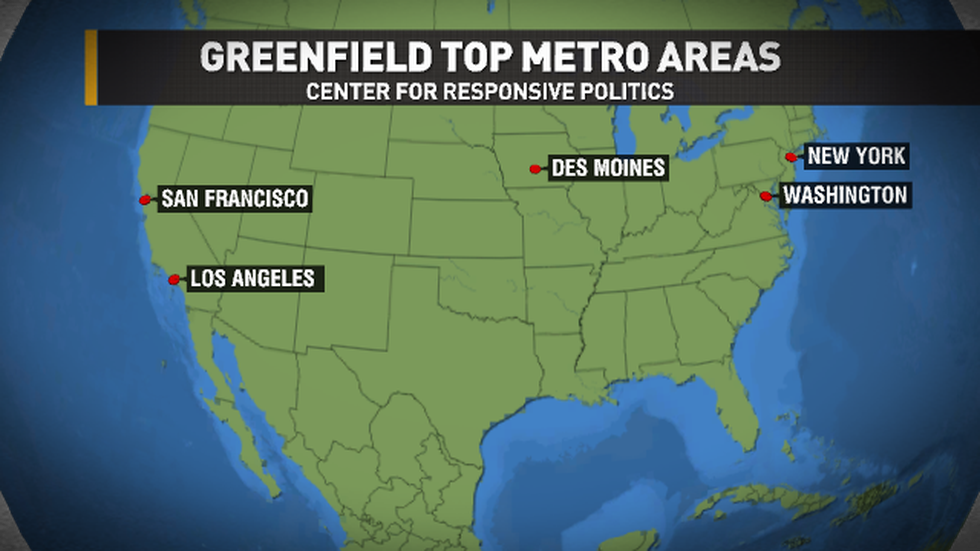 These are the top five locations where Greenfield has received contributions from, according to...