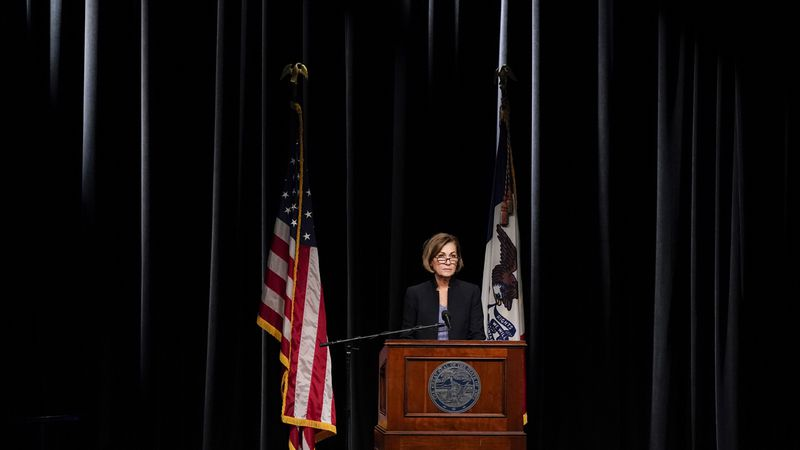 FILE - Iowa Gov. Kim Reynolds updates the state's response to the coronavirus outbreak during a...