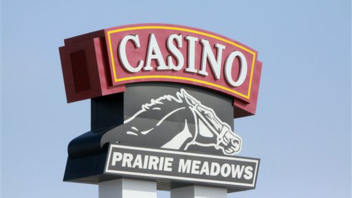 In this photo taken March 8, 2010, the Prairie Meadows Casino sign is shown in Altoona, Iowa....