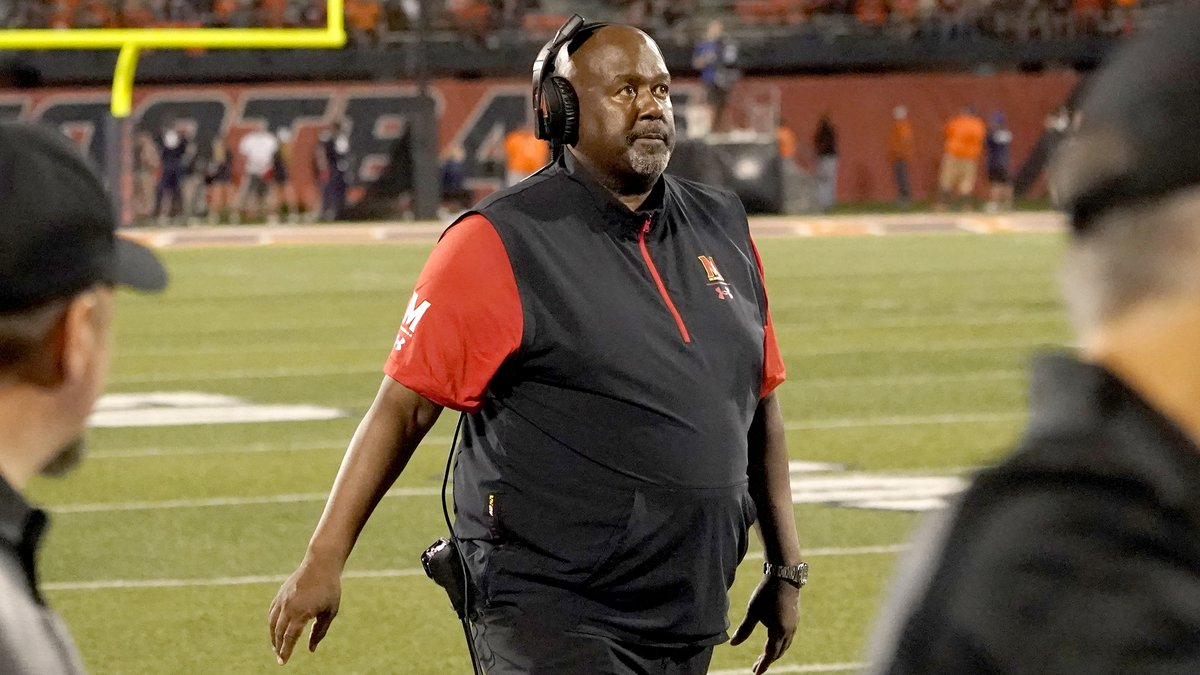 FILE - Maryland head coach Michael Locksley looks up to the scoreboard during the second half...