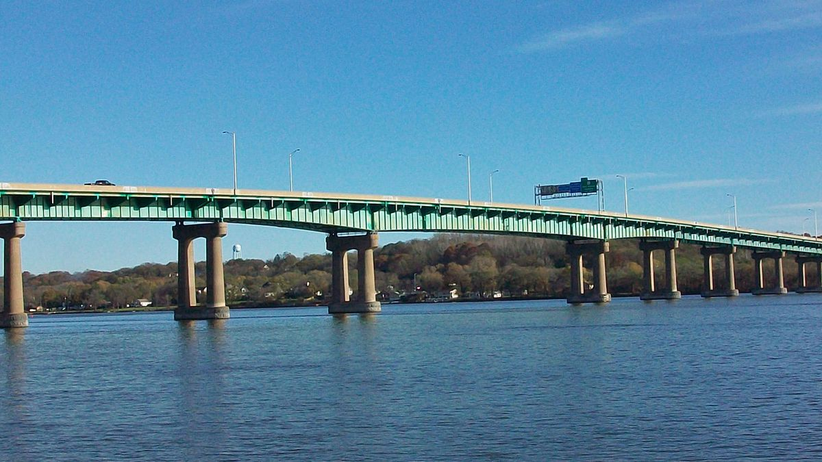 "The Fred Schwengel Memorial Bridge, which carries Interstate 80 over the Mississippi River between Iowa and Illinois near LeClaire, is seen in a 2010 photo. (Wikimedia Commons / Ctjf83 / <a href=""https://creativecommons.org/licenses/by-sa/3.0/deed.en"">CC BY-SA 3.0</a>)"
