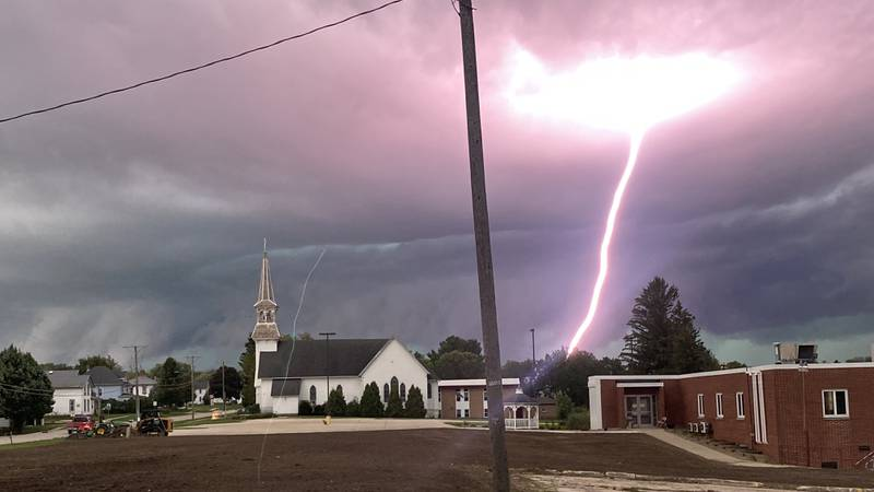 Lightning strikes ahead of severe storms in Strawberry Point on Tuesday, August 24, 2021.