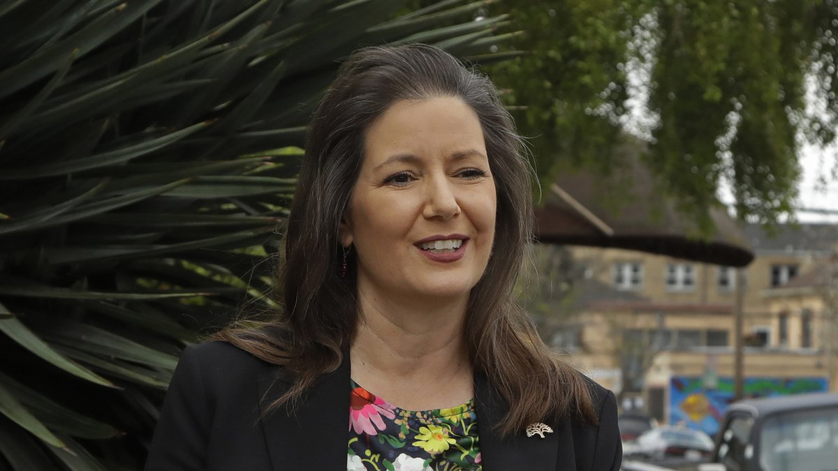FILE - In this April 10, 2020, file photo, Oakland Mayor Libby Schaaf speaks at a media...