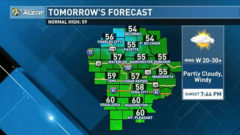 On Monday, partly cloudy skies are expected for most of eastern Iowa with a little bonus...