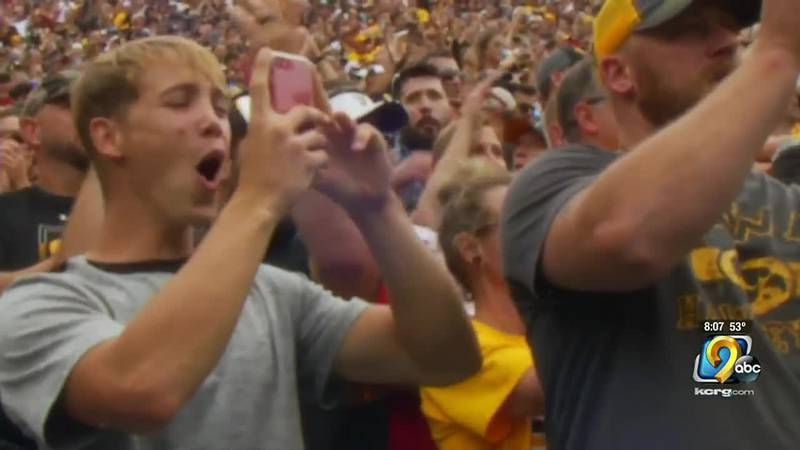Fans watching the Iowa Hawkeyes at Kinnick Stadium