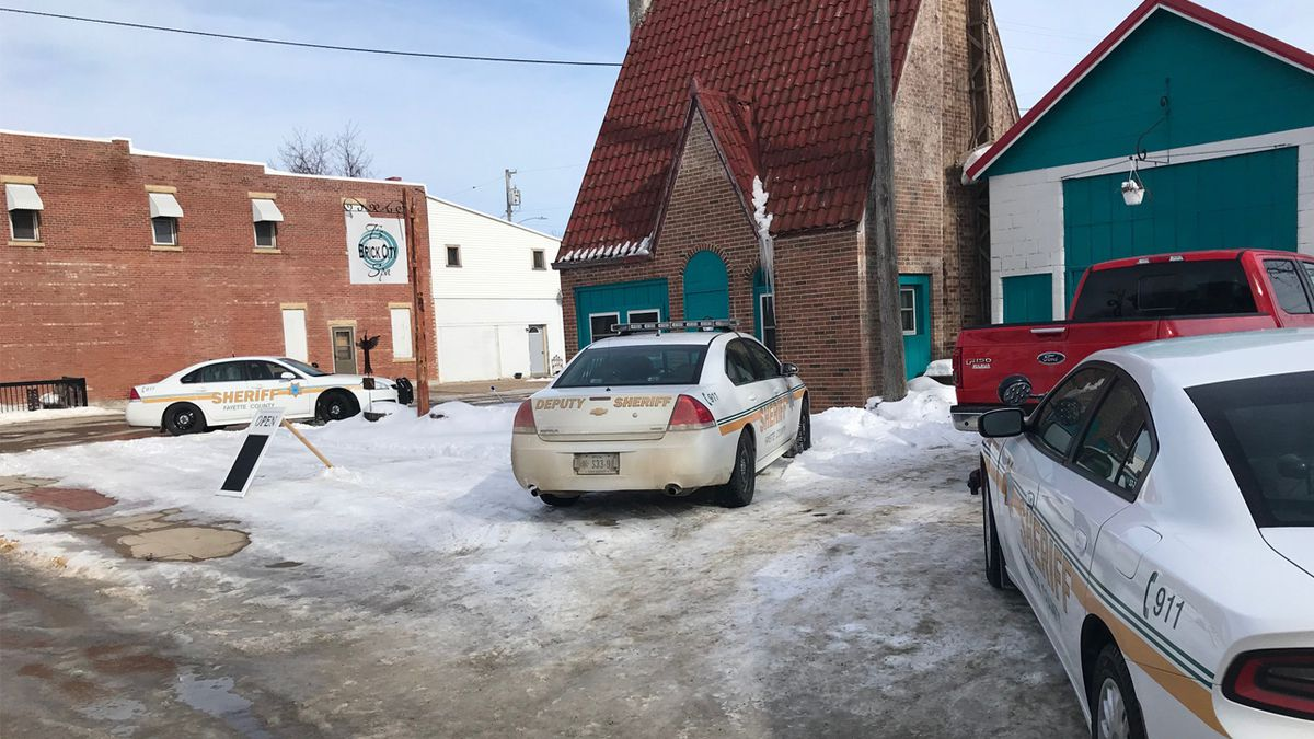 Authorities investigate at T's Brick City Spa in Clermont, Iowa on March 6, 2019 (Courtesy: Fayette County Sheriff's Office)