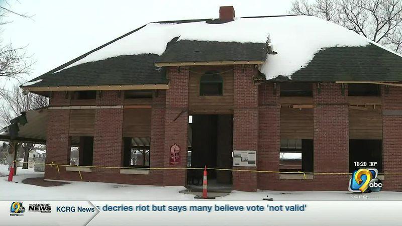 Historic Marion train depot getting derecho damage repaired