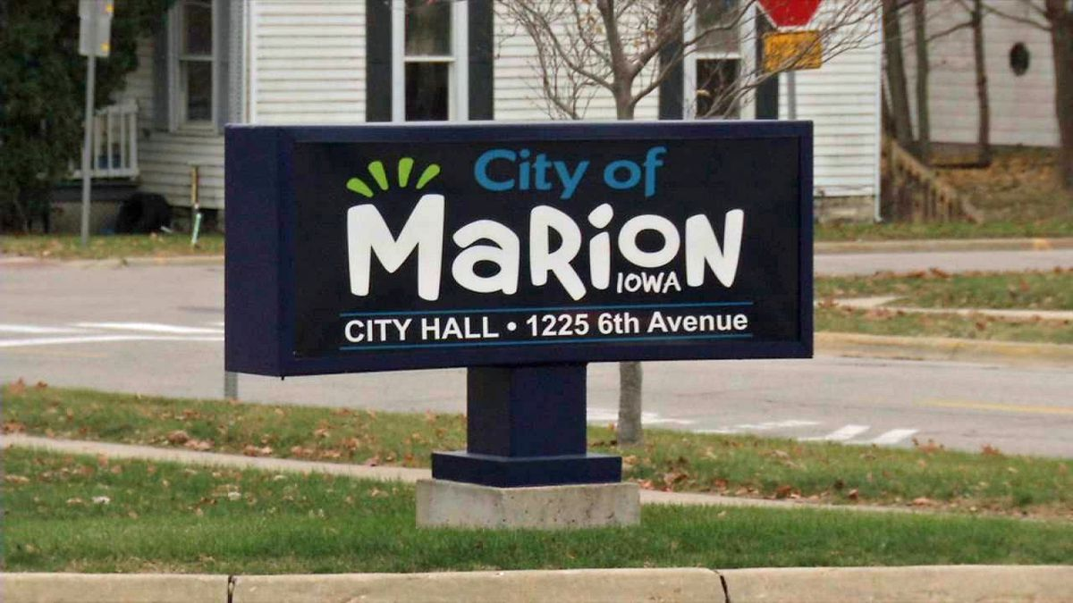 A sign outside of City Hall in Marion on Nov. 13, 2018 (Phil Reed/KCRG)