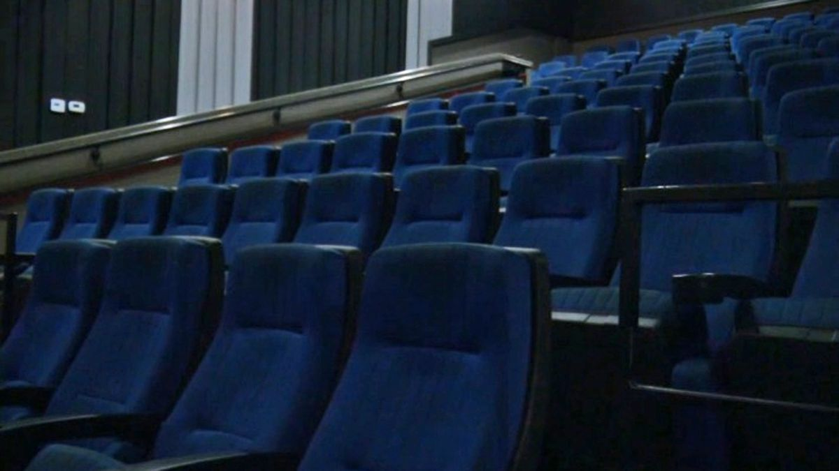 A theater sits empty at Starlight Cinema in Independence on Wednesday, May 20, 2020. Ben Thompson, a co-owner of the theater, is taking steps to prepare to reopen after Gov. Kim Reynolds announced the relaxing of coronavirus-related restrictions. (Brian Tabick/KCRG)