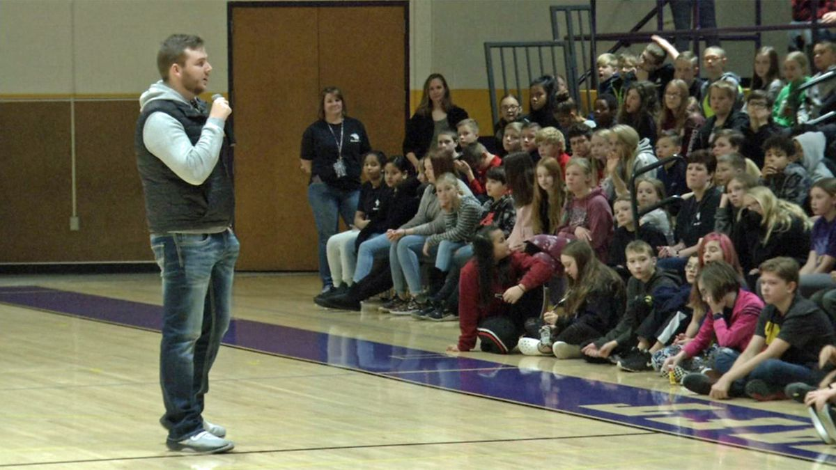 Carson King speaks to children at Taft Middle School in Cedar Rapids, Iowa on Monday, Nov. 18, 2019 (Josh Scheinblum/KCRG)