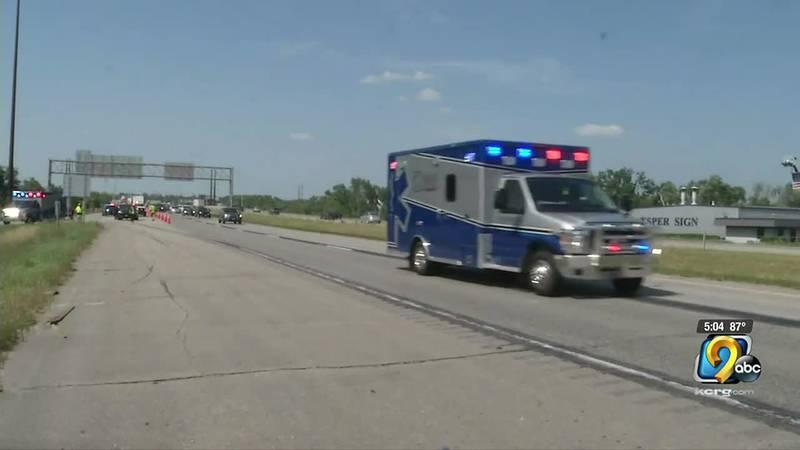 Ambulance leaving the scene of Interstate 380 crash.